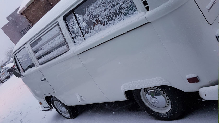 Clarence in the snow with a new steering box and fresh MOT